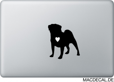 MacBook Sticker Aufkleber - Mops